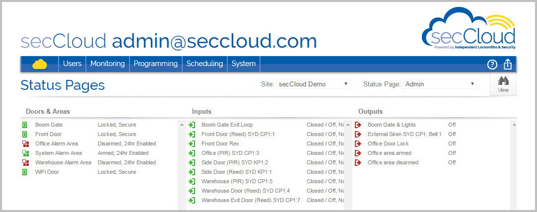 secCloud screenshot of customer log-in